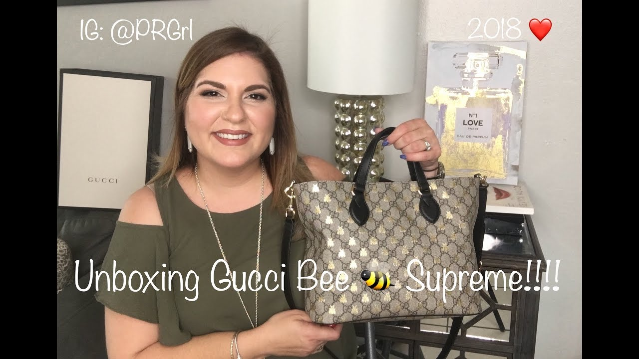 9edb17fd384883 Gucci Supreme Bees Tote Unboxing!!!! Spanish Version 2018 - YouTube
