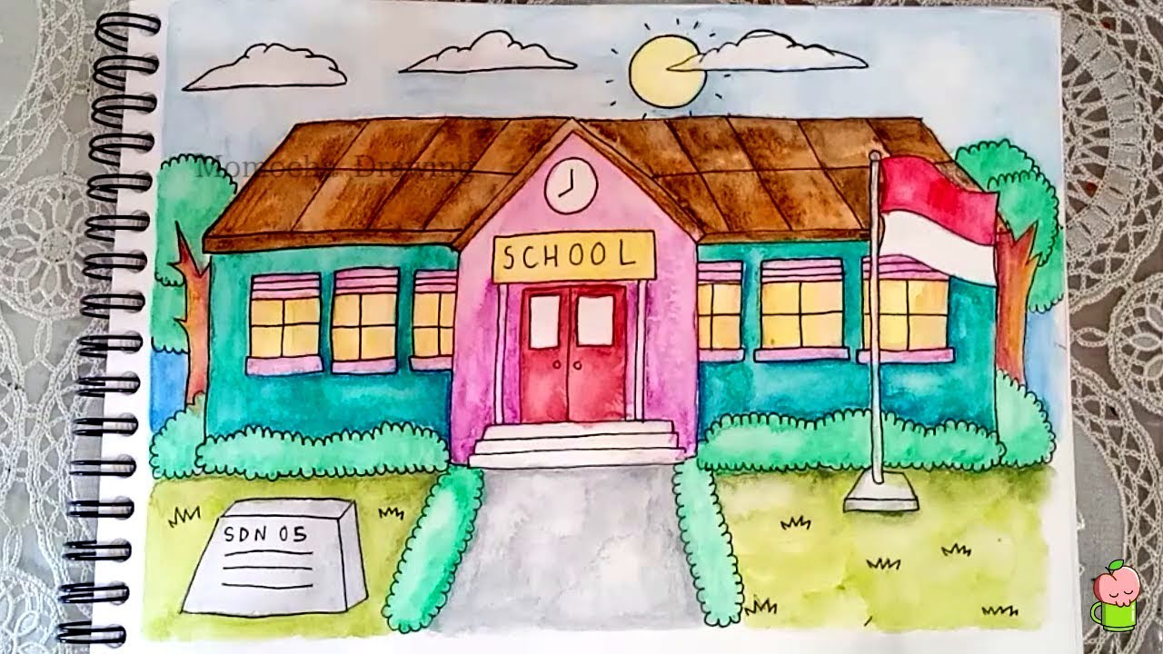 How To Draw And Color School With Watercolor Pencil For Kids Step By Step