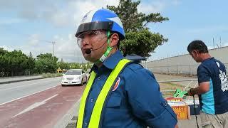 工事車両の右折を誘導し、直進妨害させるテイケイ