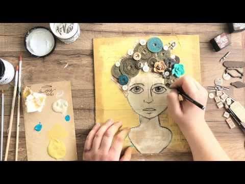 Good Thoughts Girl: A Mixed-Media Assemblage Canvas Project by Stampington & Company