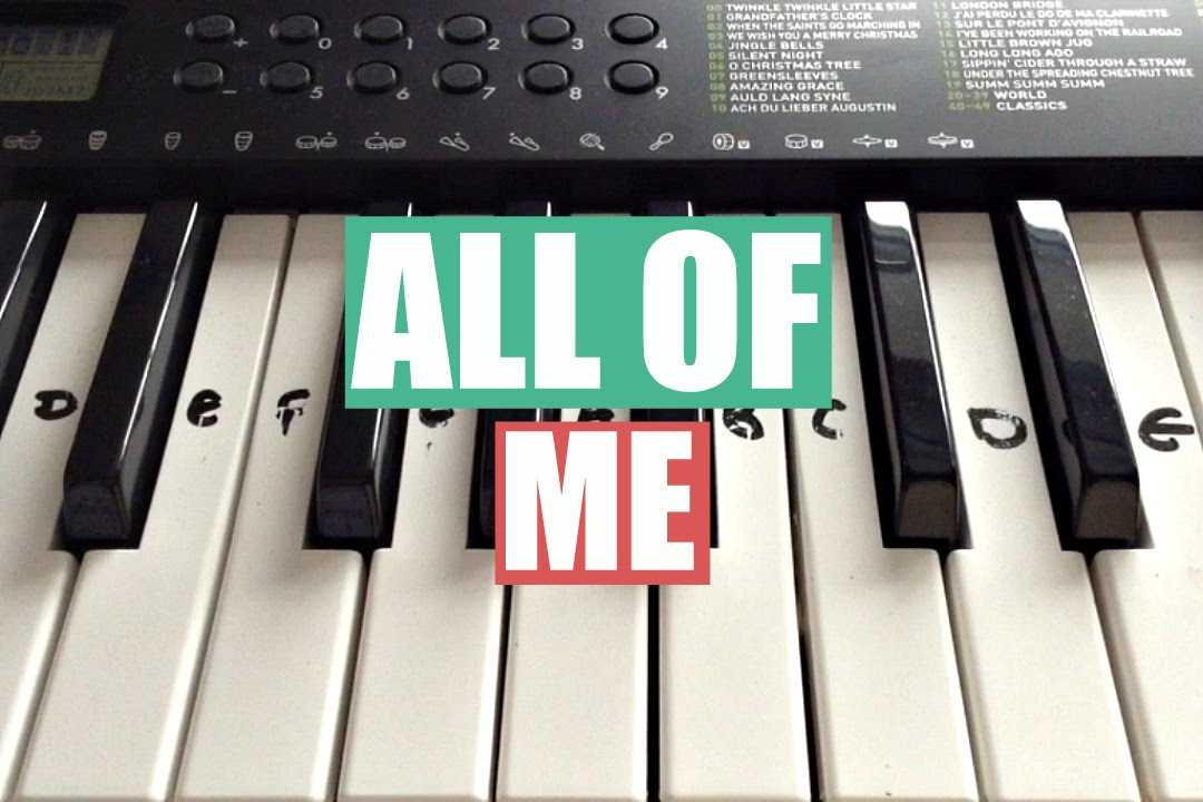 All Of Me - John Legend Easy Keyboard Tutorial With Notes (Right