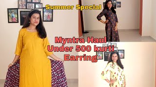 Affordable Myntra Haul|Under 500 Kurti & Earring|Summer special|March 2019 Myntra Haul|RBLstylelife
