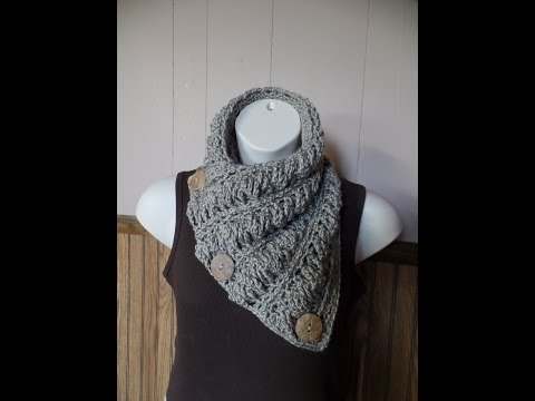CROCHET How to #Crochet Gwenyths Cable Stitch Button Cowl Wrap Scarf #TUTORIAL #260 LEARN CROCHET