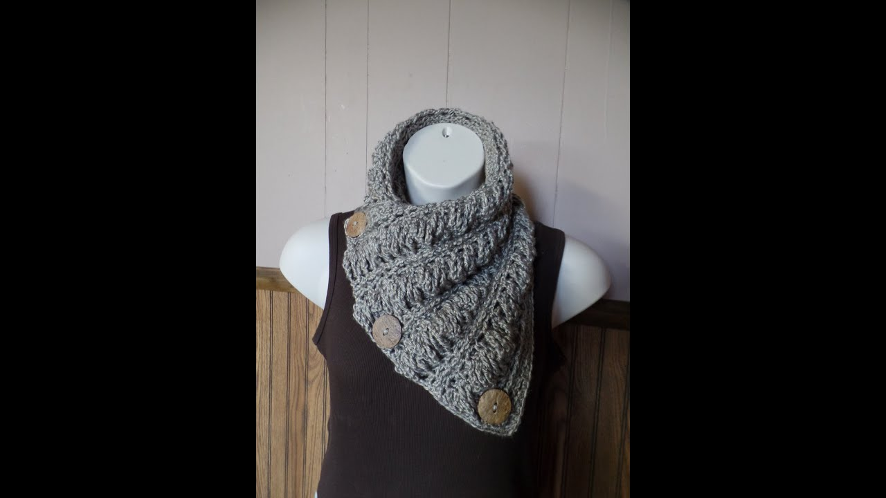 CROCHET How to #Crochet Gwenyths Cable Stitch Button Cowl Wrap Scarf ...