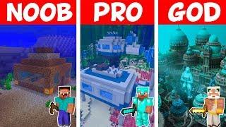 Minecraft NOOB vs PRO vs GOD: SEA SAFEST HOUSE in Minecraft!