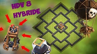 hdv 8 farm hybride protection des ressources   anti dragons valkyries   clash of clans
