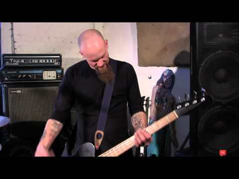 Nick Oliveri shows off his new EchoPark Bass Guitar.
