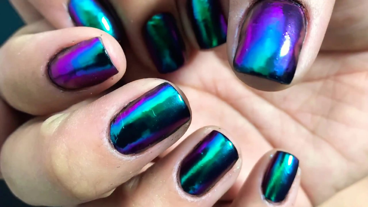 CHROME NAILS TUTORIAL - Oil Slick Scheme - YouTube