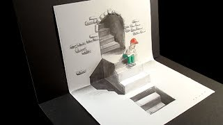 Stairs and Seated Figure  Illusion - Drawing 3D Trick Art - VamosART