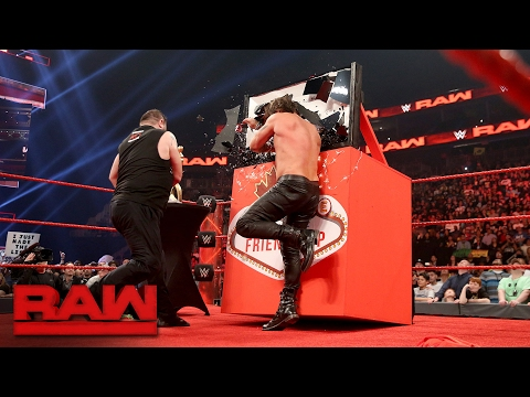 "Kevin Owens attacks Chris Jericho during the ""Festival of Friendship"": Raw, Feb. 13, 2017"