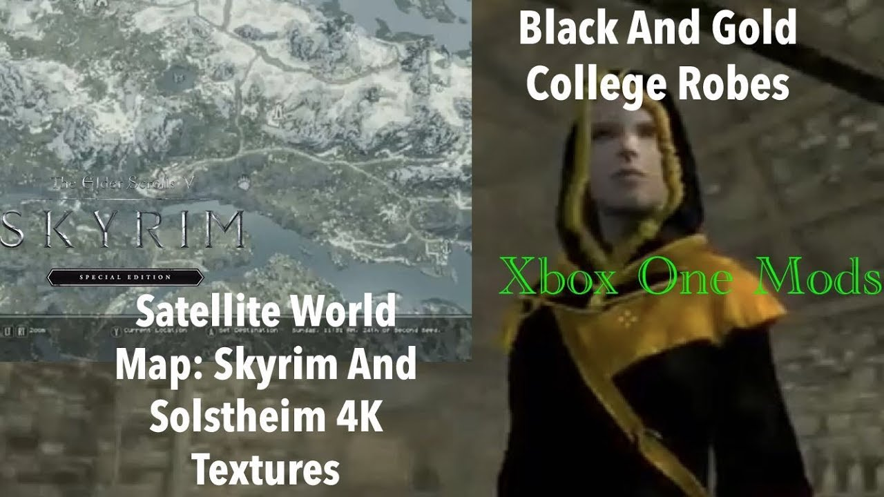 Skyrim SE Xbox One Mods|Satellite World Map: Skyrim And Solstheim/Black And  Gold College Robes