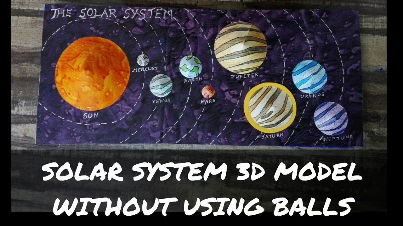how to make solar system project 3d model for kids / solar system project  without balls