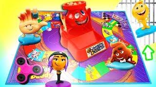 Emoji Movie Don't Spill The Beans Candy Game with Jailbreak, Gene, Smiler & Hi 5!