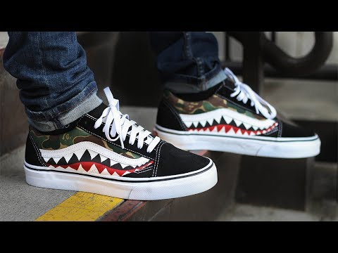 Custom Bape Shark Vans + on Feet!