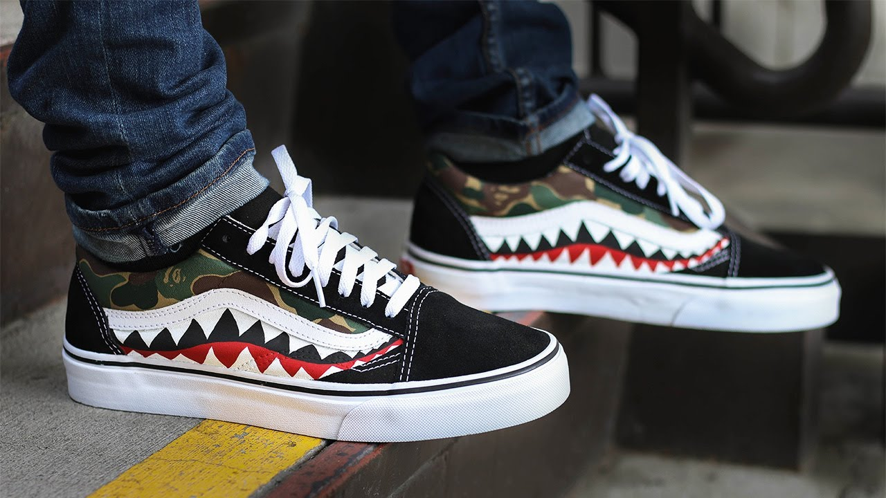 edb42eb2ef Custom Bape Shark Vans + on Feet! - YouTube