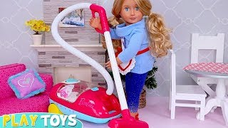 OG Doll House Cleaning, Cooking & Decorating Dollhouse for Christmas!