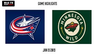 NHL Highlights   Columbus Blue Jackets vs  Minnesota Wild   Jan  19, 2019