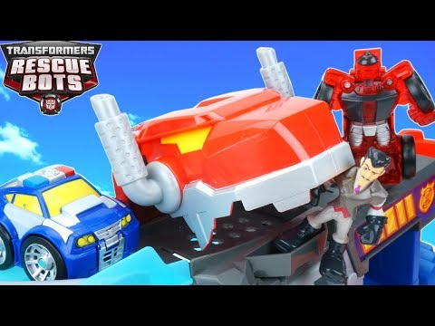 Transformers Rescue Bots Chomp Chase Raceway Optimus Dinobot Eats Dr Morocco Puts Moorbot in Jail!