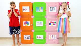 Diana and Roma Leąrn how to open toy boxes by solving Logic Games and Activities