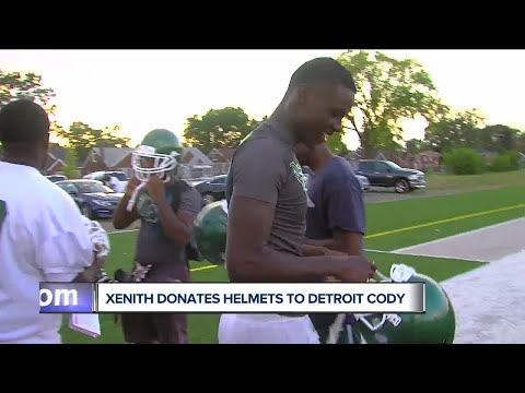 Detroit Cody high school football team gets 30 helmets donated from Xenith
