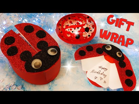 🐞 DIY gift wrap paper pop up box Ladybug birthday card from paper foam  handmade gift free stickers