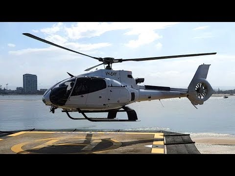 Helicopter Take Off: Airbus Helicopters H130 VH EHY Seaworld Gold Coast Australia