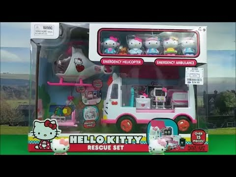 f25526ae6141 NEW Hello Kitty RESCUE SET with Helicopter and Ambulance  hellokitty