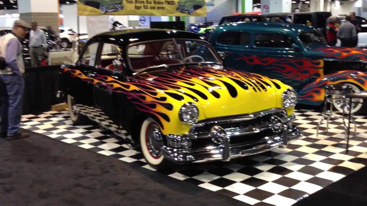 Flame Paint Job On Classic Hot Rod At Auto Show Youtube