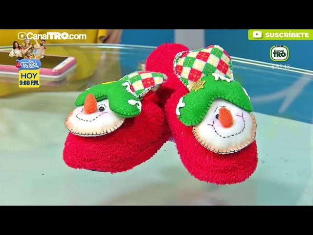 Pantuflas navideñas - Hecho con Estilo