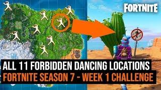 All 11 FORBIDDEN DANCING Locations In Fortnite: Battle Royale | Season 7 week 1 challenge