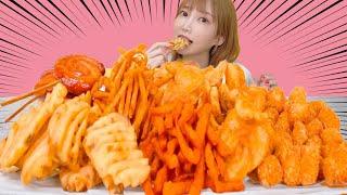 【大食い】フライドポテト6種類を食べる!カリカリ油ジュワーで美味しすぎる!うずまきウインナーも食べる【木下ゆうか】