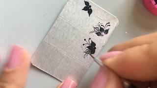 adesivos caseiros dpara unhas ; Passo a passo flores pretas para iniciantes