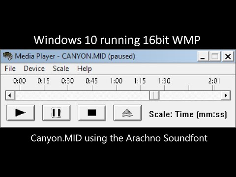 WMP 16bit running on 64bit Windows 10 (Canyon MID using the Arachno  Soundfont)