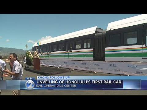 Honolulu's first rail cars unwrapped, train unveiled