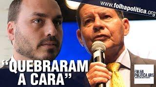 Jornalistas tentam 'arrancar' declaração do General Mourão contra Carlos Bolsonaro e 'quebr..