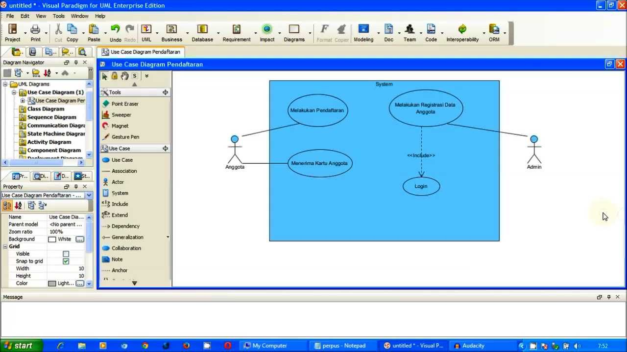 Tutorial UML - Use Case Diagram Pendaftaran (Perpus) Part ...