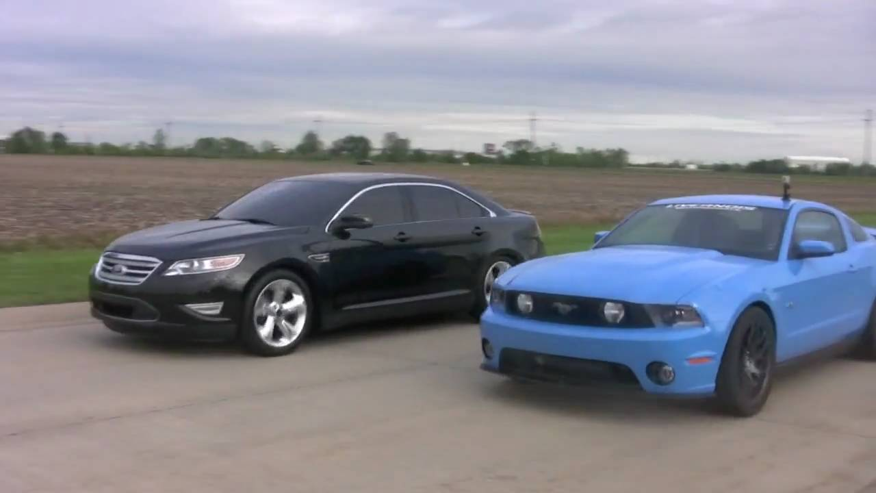 Livernois tuned 2010 taurus sho vs 2011 5 0 mustang gt