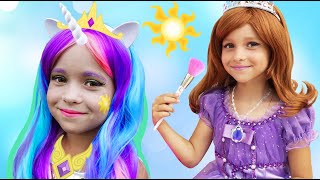 Sofia turned into a Princess and makes a new Dress for Party - Cool DIY Ideas
