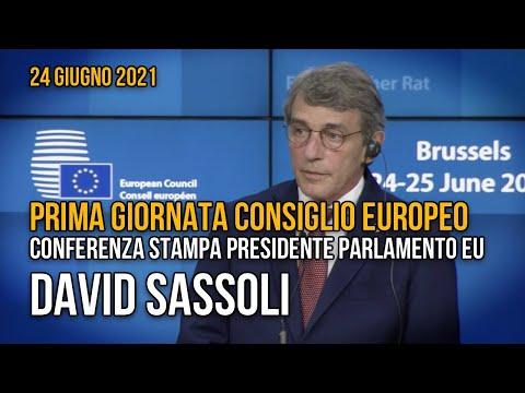 Consiglio europeo, conferenza stampa del presidente del presidente del Parlamento Eu, David Sassoli