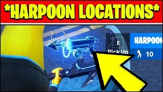 HOW TO PULL A PLAYER OR HENCHMAN WITH A HARPOON GUN & HARPOON LOCATIONS (Fortnite Season 2)
