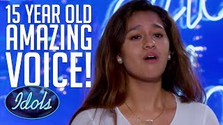 Emotional 15 YEAR OLD Alyssa Raghu Blows Judges Away With Ariana Grande Cover On American Idol 2018