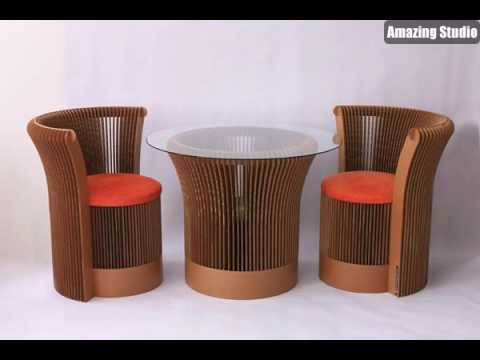 stuhl und tisch aus pappe effektvolle m bel karton m bel. Black Bedroom Furniture Sets. Home Design Ideas
