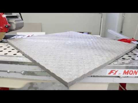 "2 cm x 24"" corner to corner cutting with SCX250 diamond blade and F1 wet tile saw"