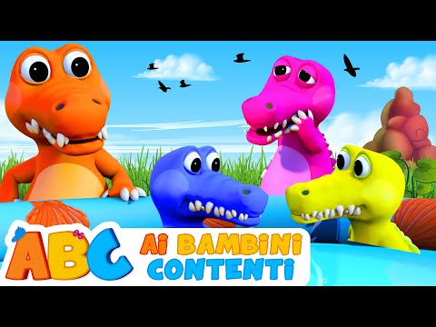 Canzoni Per Bambini | Cinque Piccoli Coccodrilli | Impara Numeri In Italiano - Video Educativo