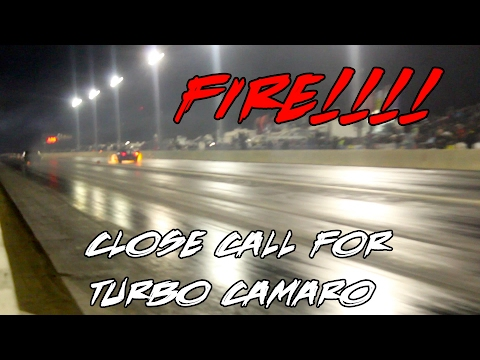 4 SEC TURBO CAMARO FLAMES UP AGAINST STREET OUTLAWS REAPER CAMARO AT LIGHTS OUT 8!!