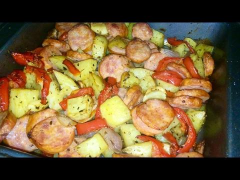 Smoked Sausage Potatoes and Red Pepper Bake Recipe -TGK/031