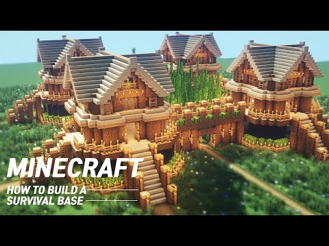Minecraft : Large oak Survival Base Tutorial |How to Build in Minecraft