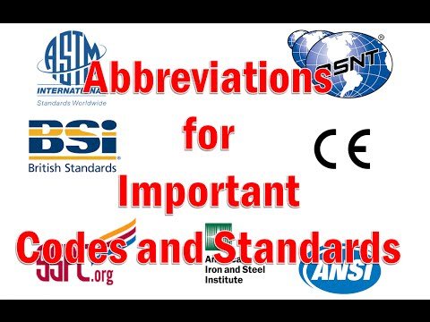 Abbreviations for Important Codes and Standards