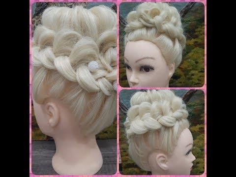 Высокий пучок из французской косы на длинные волосы/Детская прическа
