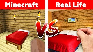 MINECRAFT BED IN REAL LIFE! Minecraft vs Real Life